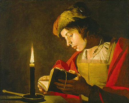 painting-of-man-reading-by-candlelight